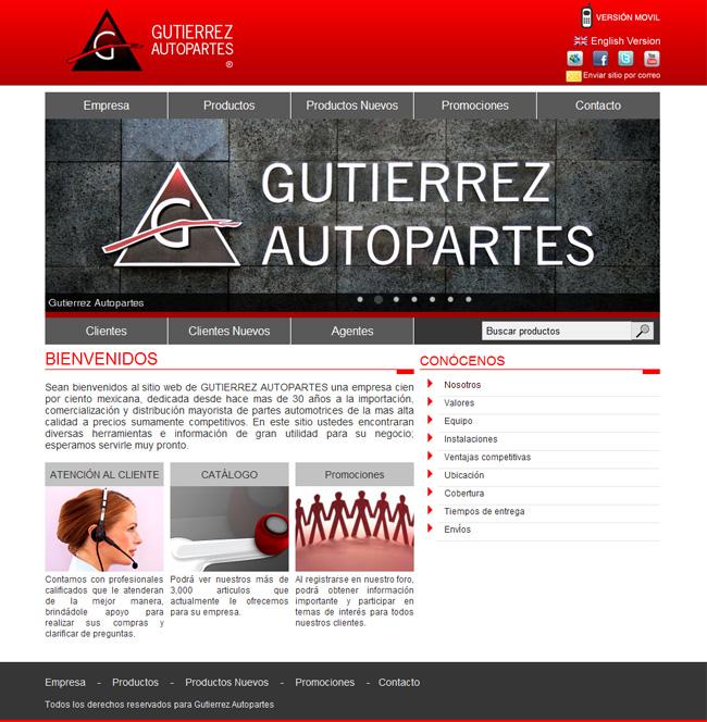 Gutierrez Autopartes - Sitio web