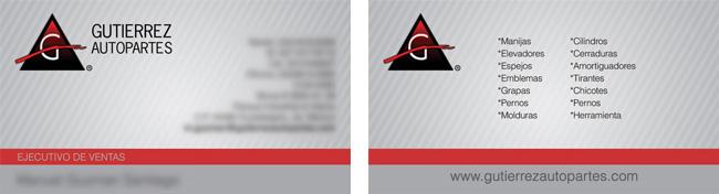 Gutierrez Autopartes - Tarjeta de presentación